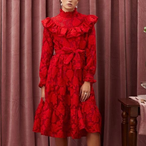 Sister Jane Red Cherry Floral Ruffle Midi Dress